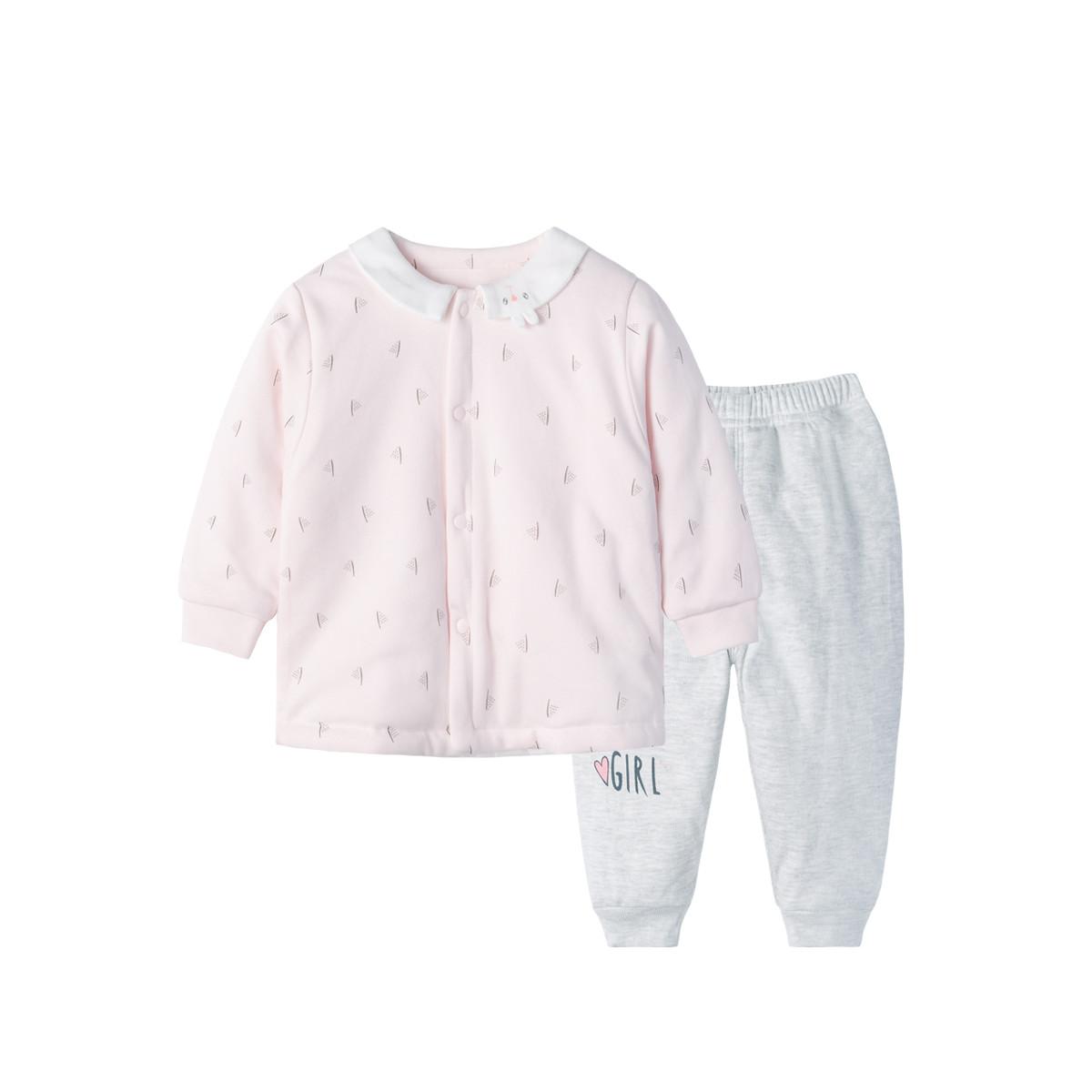 贝贝怡男女宝冬季前开夹棉套装2019新款软萌小宝贝家居服两件套194T41211