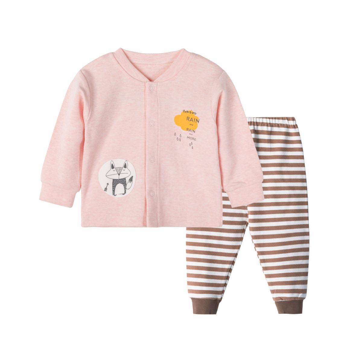 贝贝怡男女宝宝秋季前开柔软套装新款可爱卡通印花宝宝两件套193T392156
