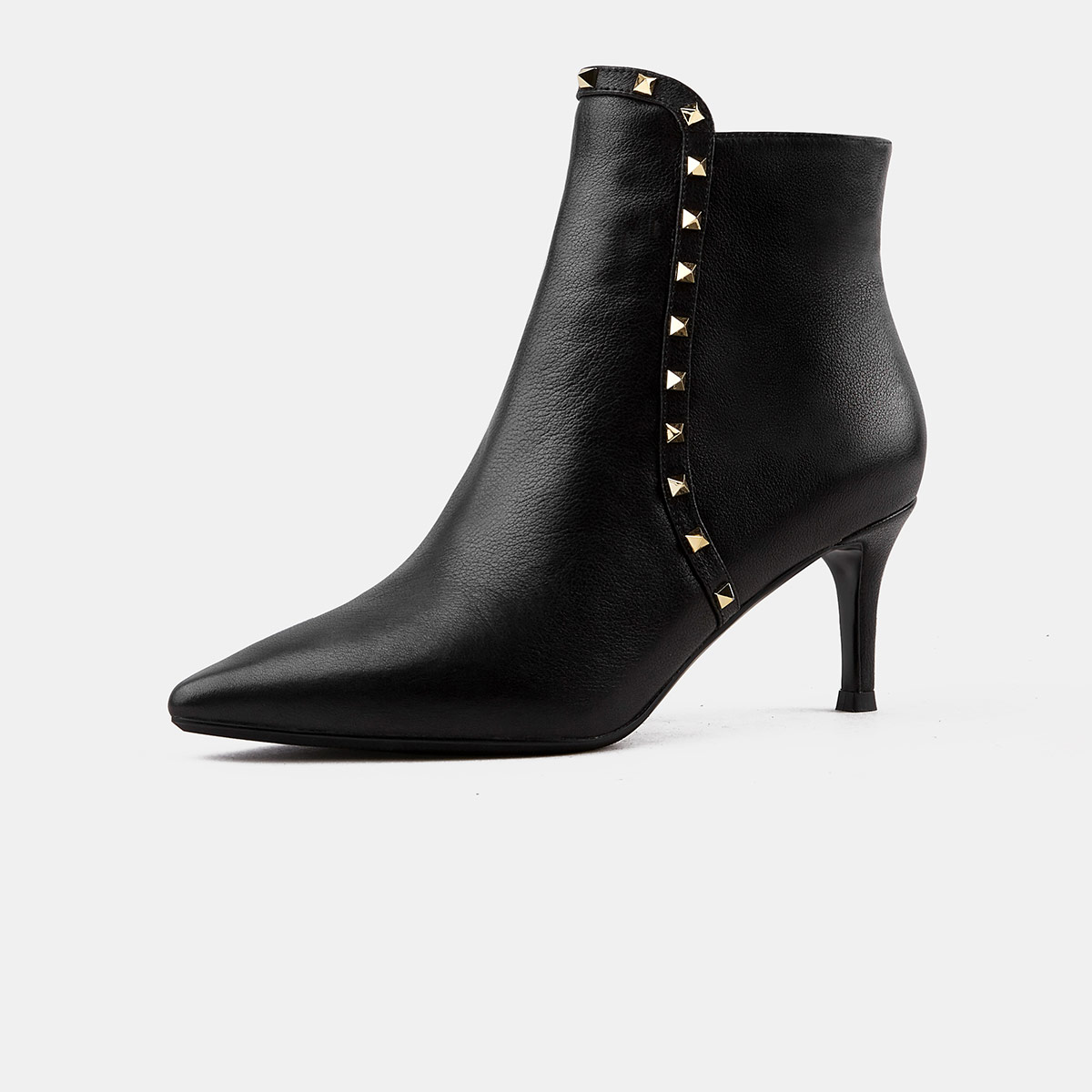 色非色非2019秋冬新款优雅铆钉装饰女鞋尖头拉链细高跟女短靴时装靴WM-D714IP0111N