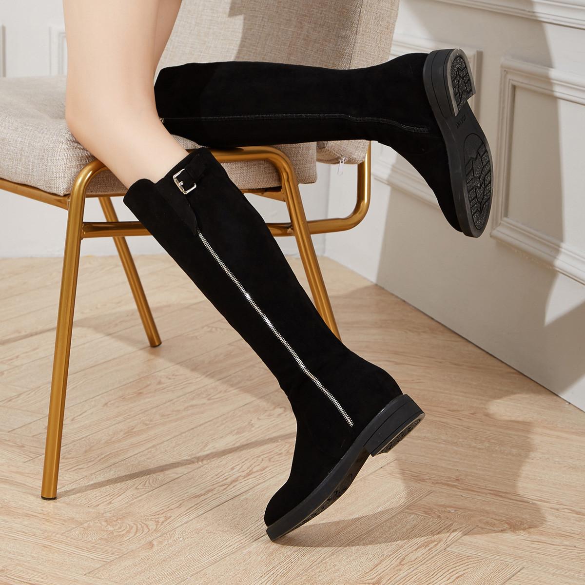 卓诗尼2019秋季新款女士靴子反绒皮保暖侧拉链内增高黑色休闲长筒靴11891385501