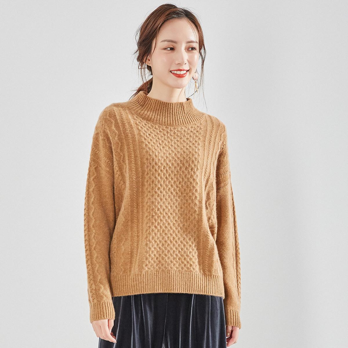 春竹【2019新品】春竹高领宽松加厚保暖100%羊绒衫女式毛衣V1SA1B09-8091
