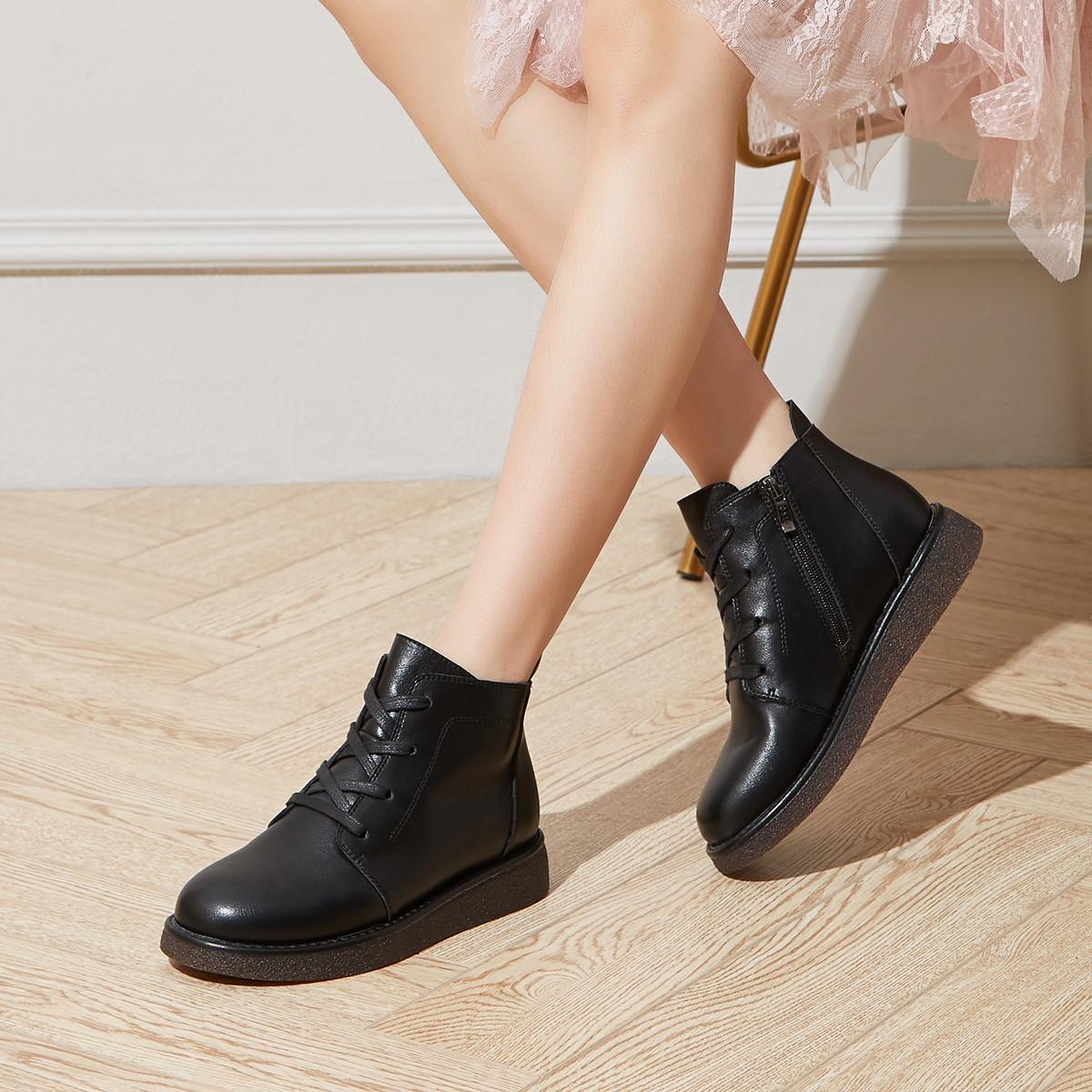 卓诗尼2019秋季新款女士靴子侧拉链系带保暖短毛绒低跟复古软底短靴14691011501