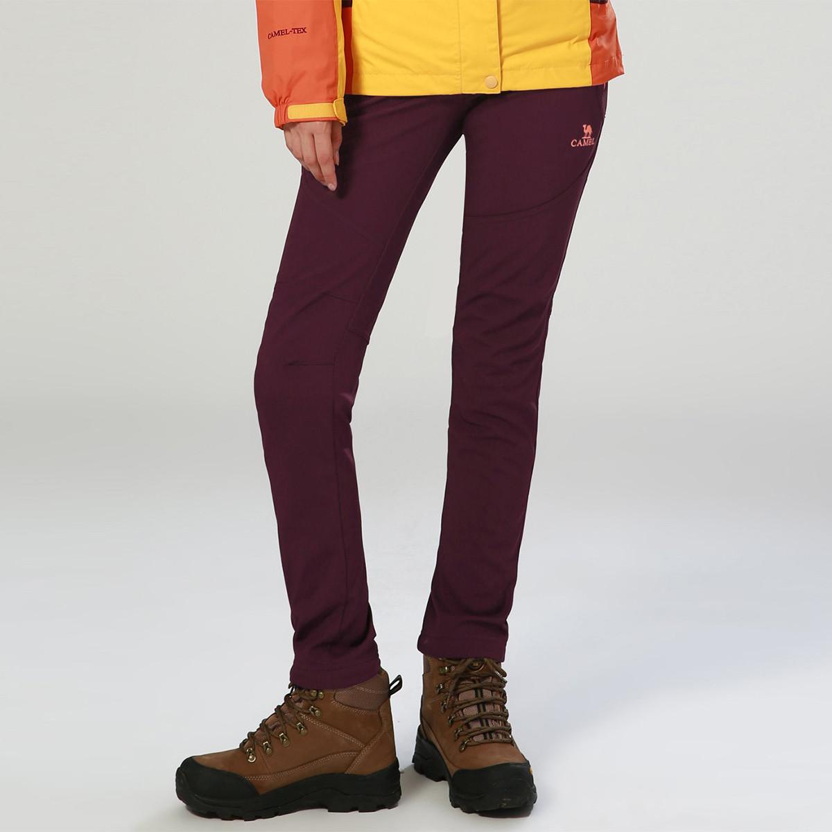 骆驼骆驼户外旅行休闲简约秋冬加厚登山裤舒适保暖加绒 女款软壳裤70A7W3118158250