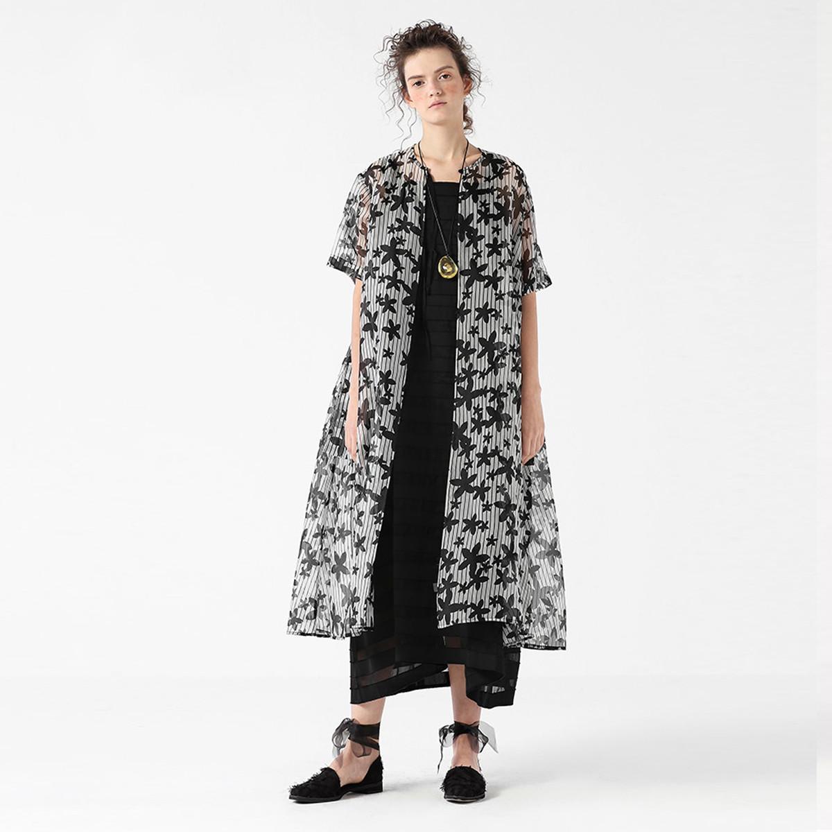 EIN桑蚕丝印花罩衫宽松条纹设计中长款轻薄外套女装新款夏EIN言EH1003021905