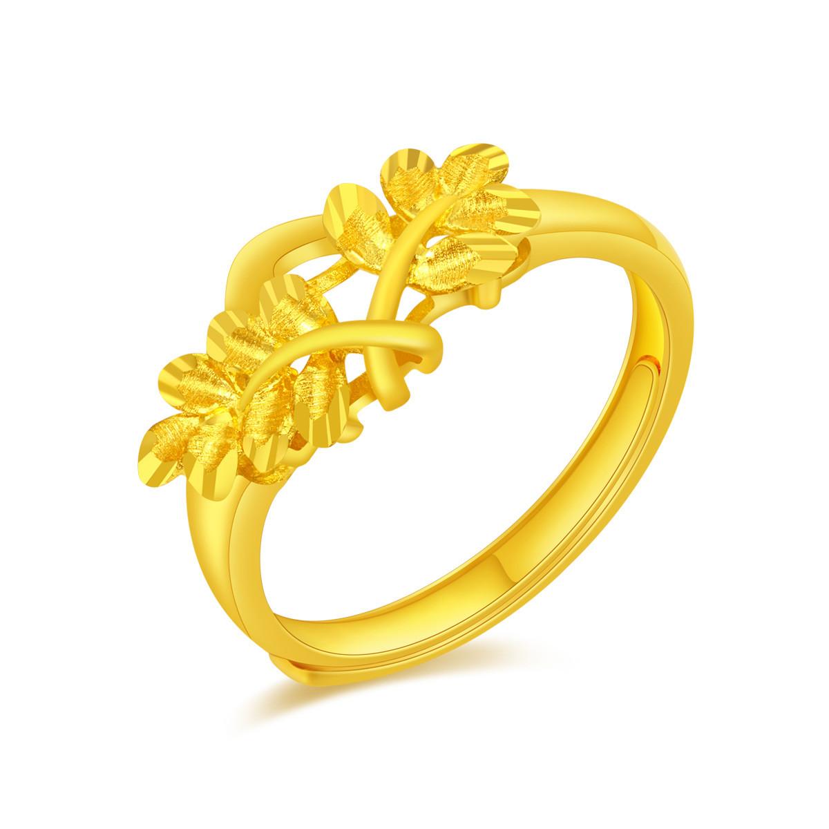 翠绿翠绿 足金叶子女士黄金戒指A01000021387