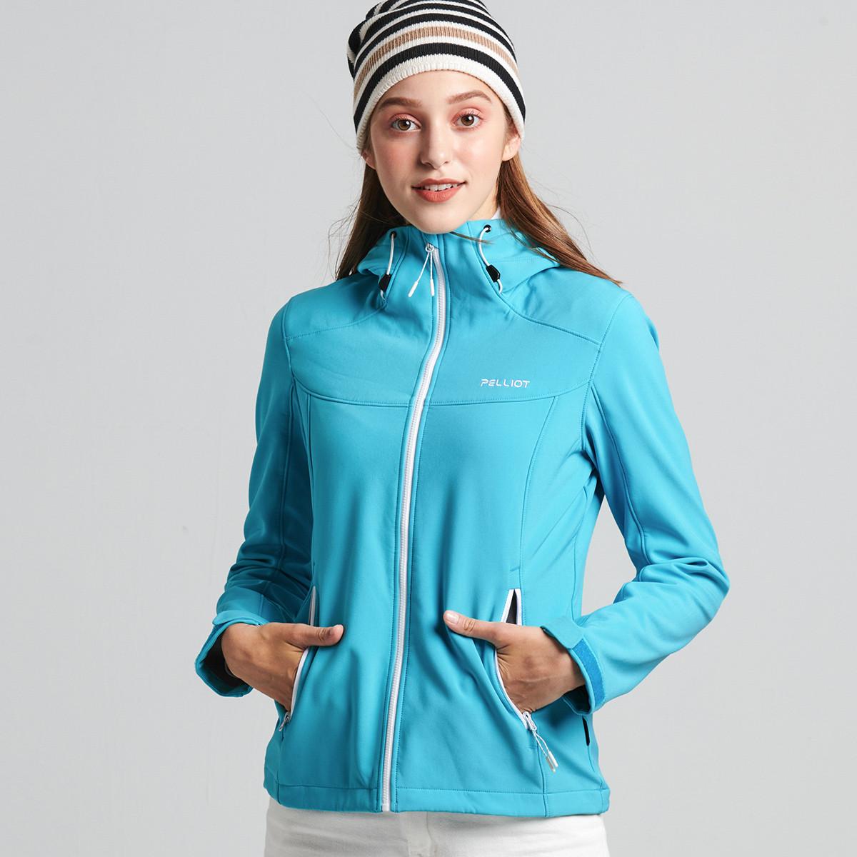 伯希和伯希和户外防风时尚女款软壳衣 加绒透气开衫连帽外套22830610-RK10413