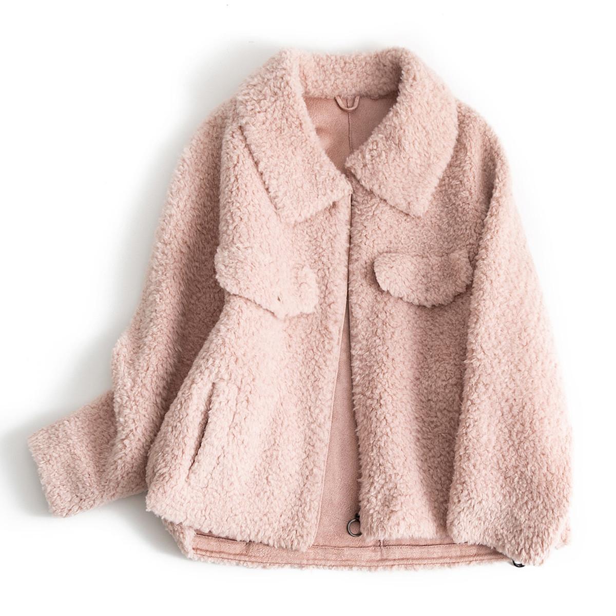 艾莱莹2019秋冬新款宽松纯色通勤气质保暖中长款女式羊剪绒颗粒大衣H1981286086