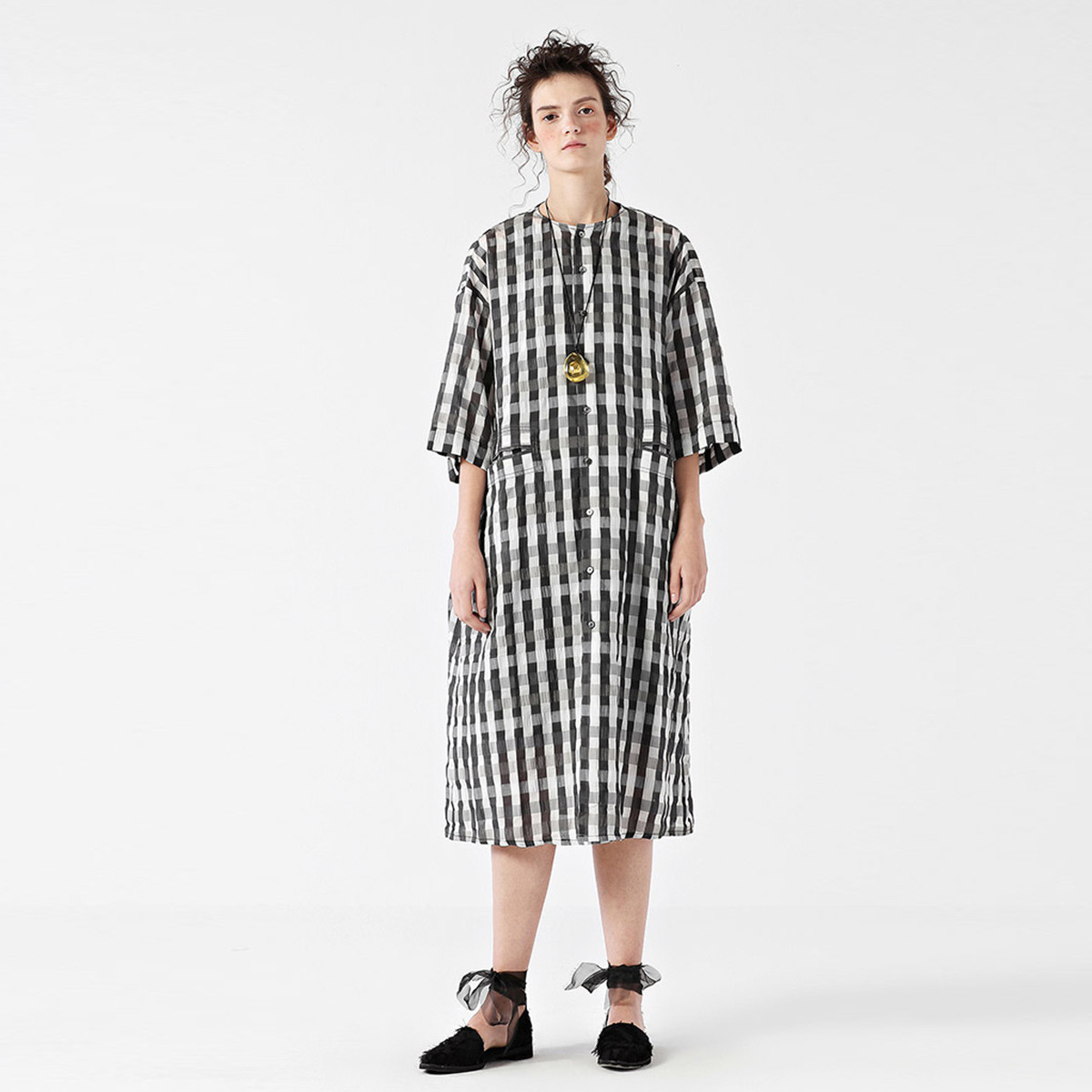 EIN夏季格子茧型外套女复古文艺风轻薄圆领七分袖防晒新款EIN言EH0803021905