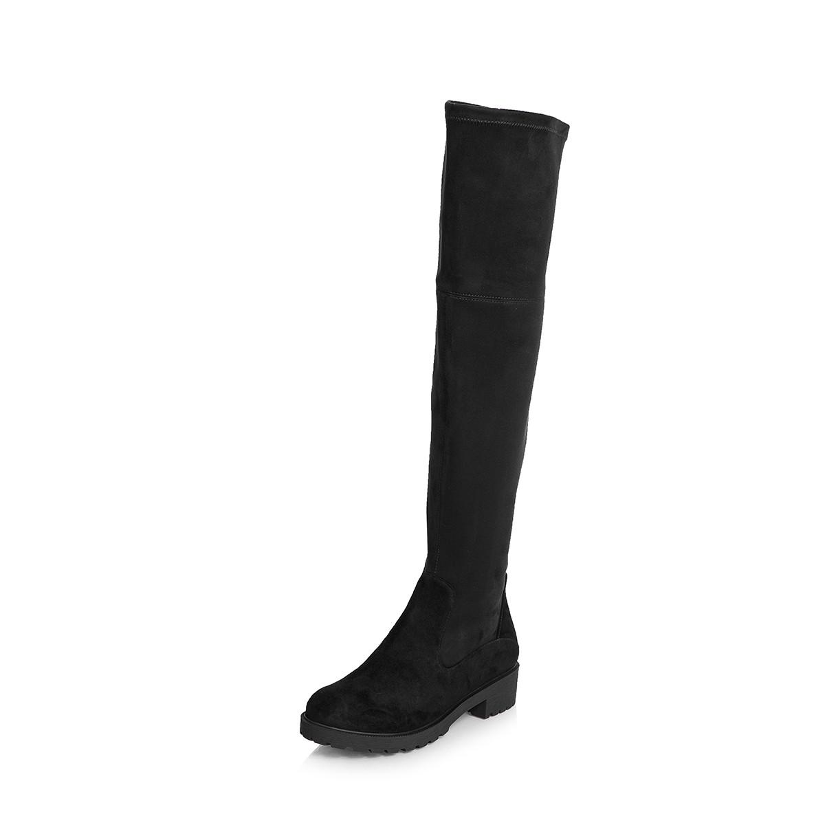 伊伴伊伴羊绒皮+弹力布靴筒过膝中跟长靴B7563168B01