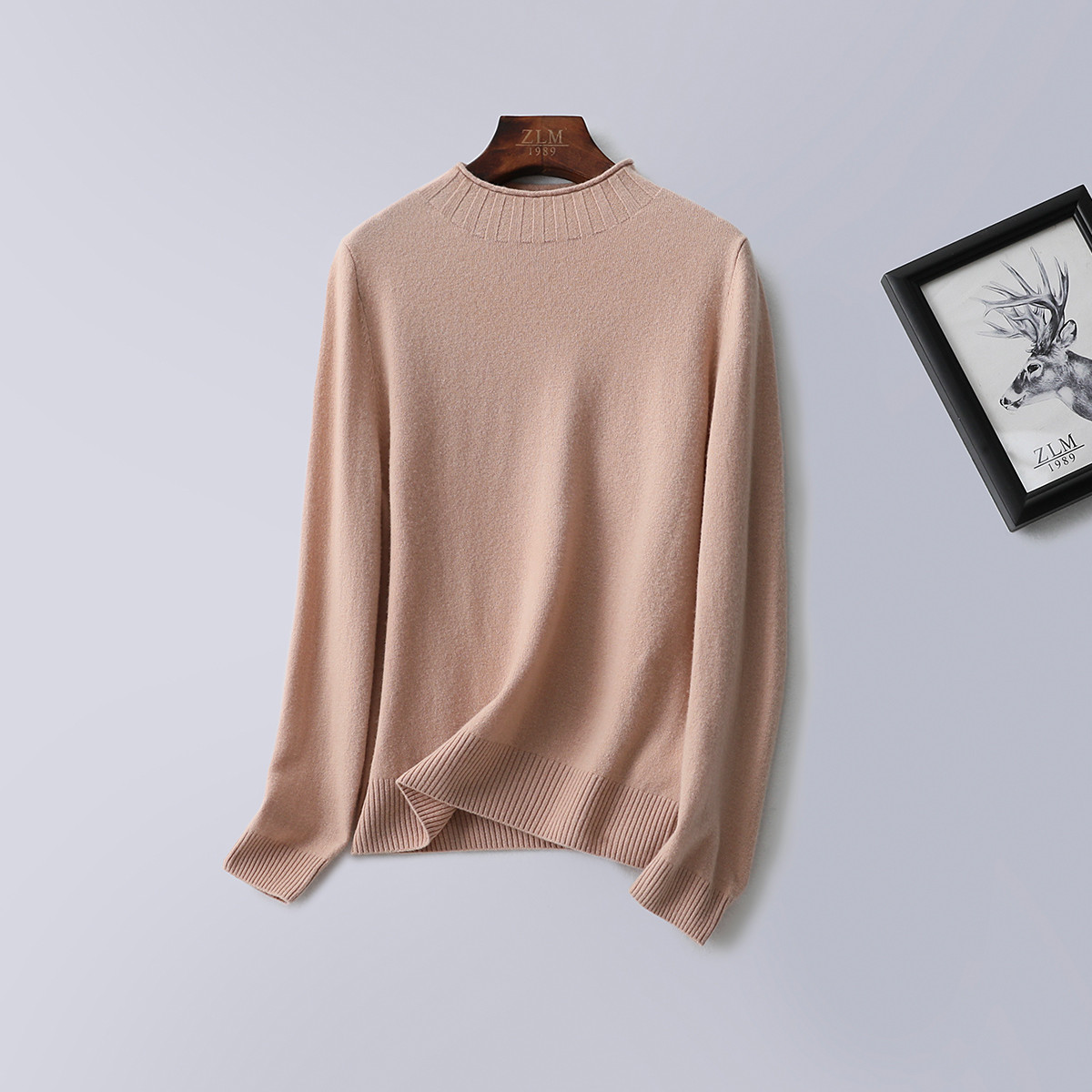 紫澜门19冬新品100%羊毛纯色半高领舒适保暖长袖打底女装羊毛衫3201304889402