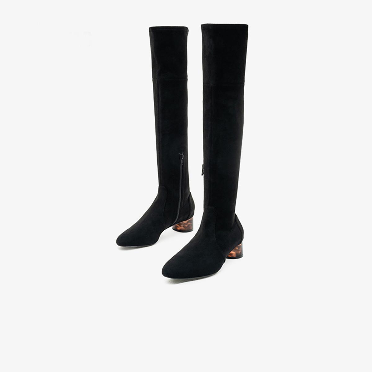 15MINS15mins15分钟冬新款绒面透明粗高跟弹力长靴过膝靴女F5GUUZ04ZU1DC9