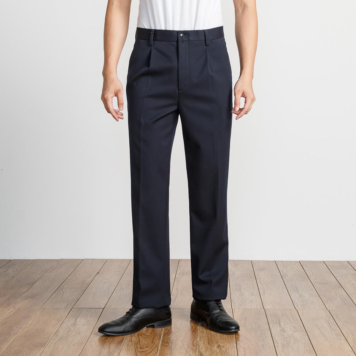 艾法利2019新品 商务单褶款斜纹底磨毛保暖宽松版男士休闲长裤JA231711031