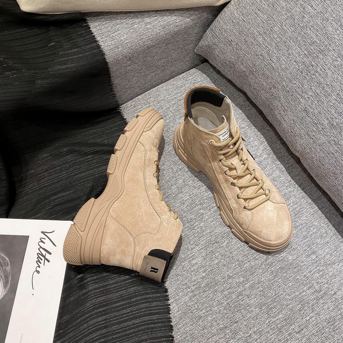 艾斯臣2019秋冬新款女鞋短靴松糕厚底英伦风马丁靴加绒保暖休闲靴A19320818-KQI