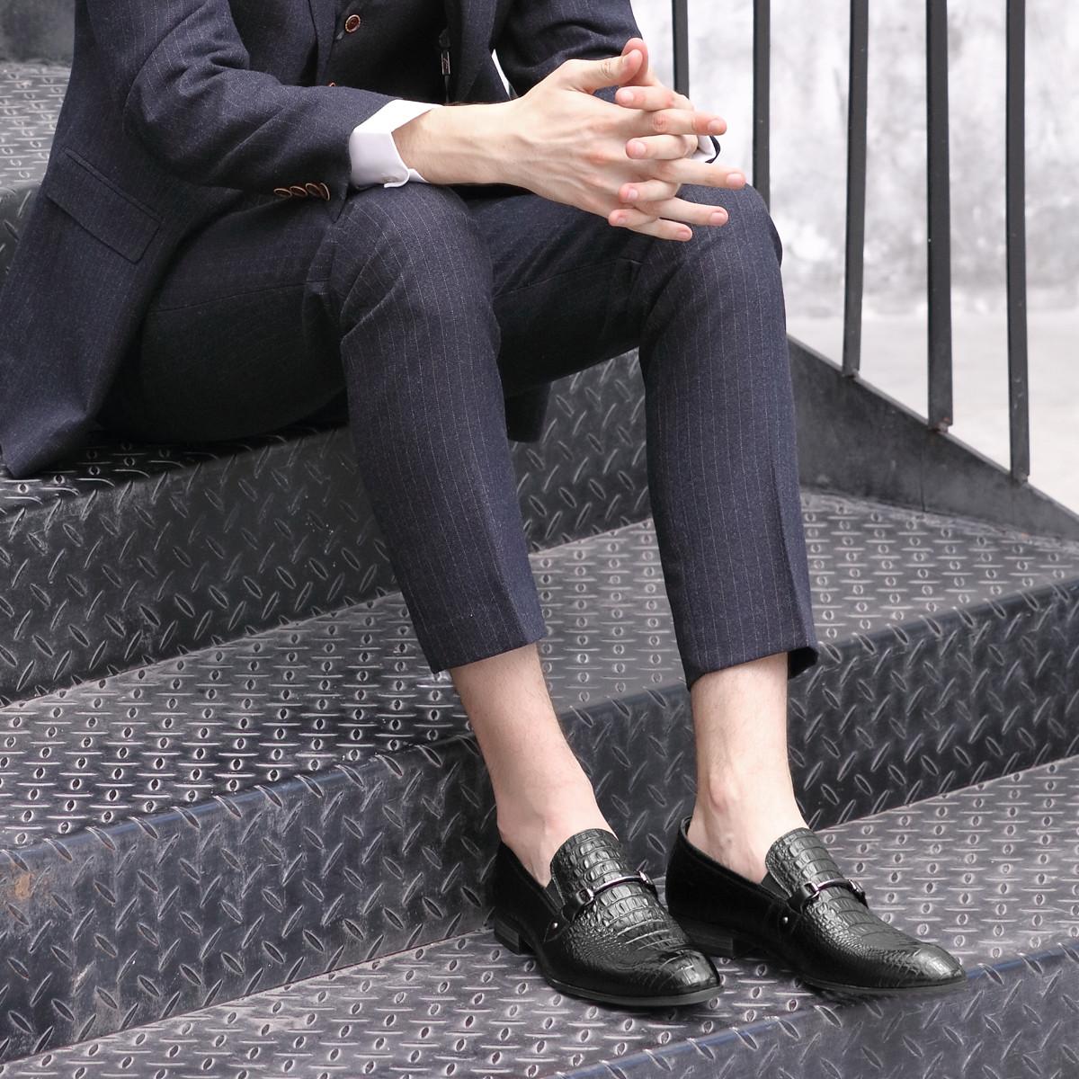 凯撒大帝【头层牛皮】男士商务皮鞋时尚经典舒适金属扣套脚百搭商务男鞋MD609922180