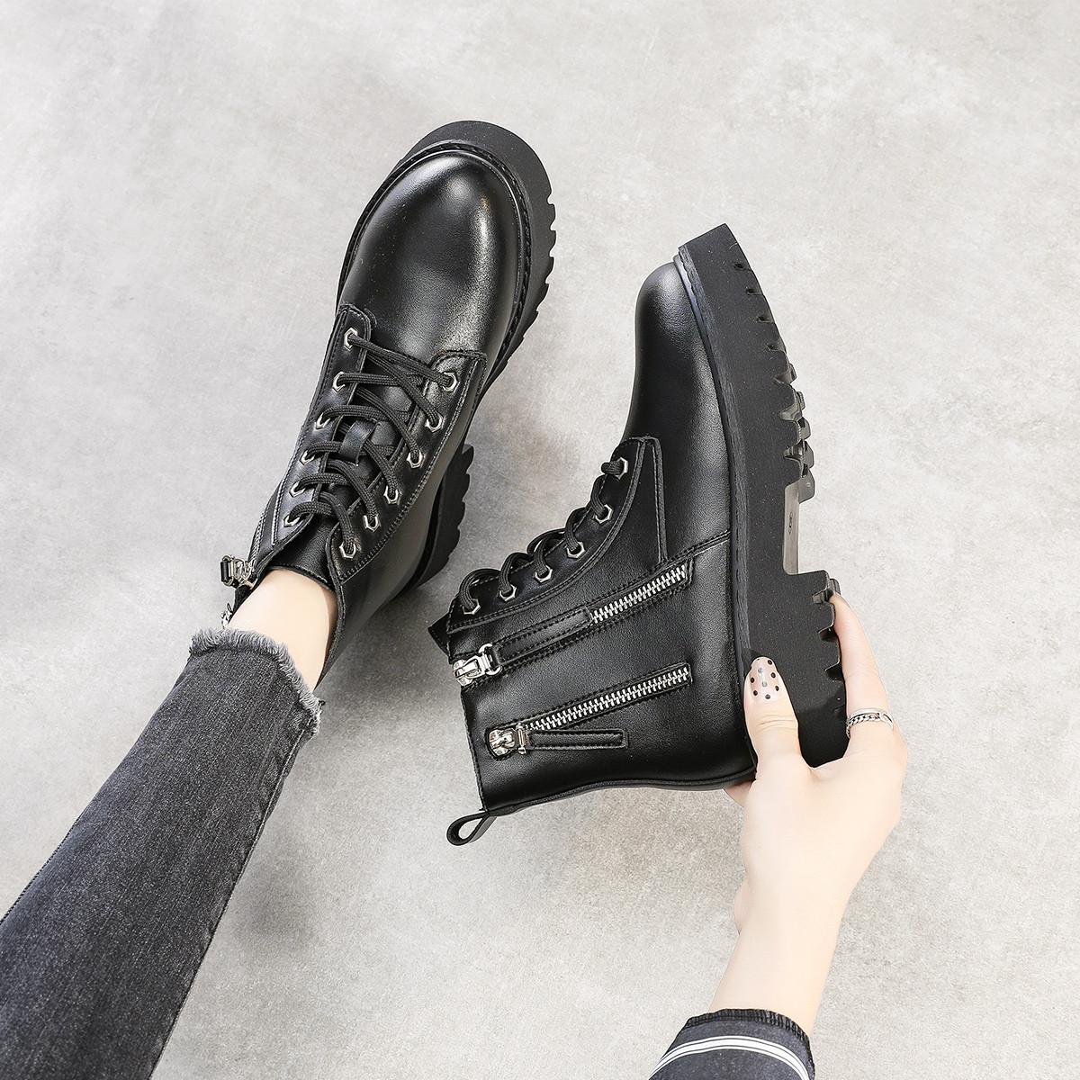 Vanssi女短靴粗跟2019冬季新款百搭学生厚底机车靴英伦风棉鞋加绒V988404096001