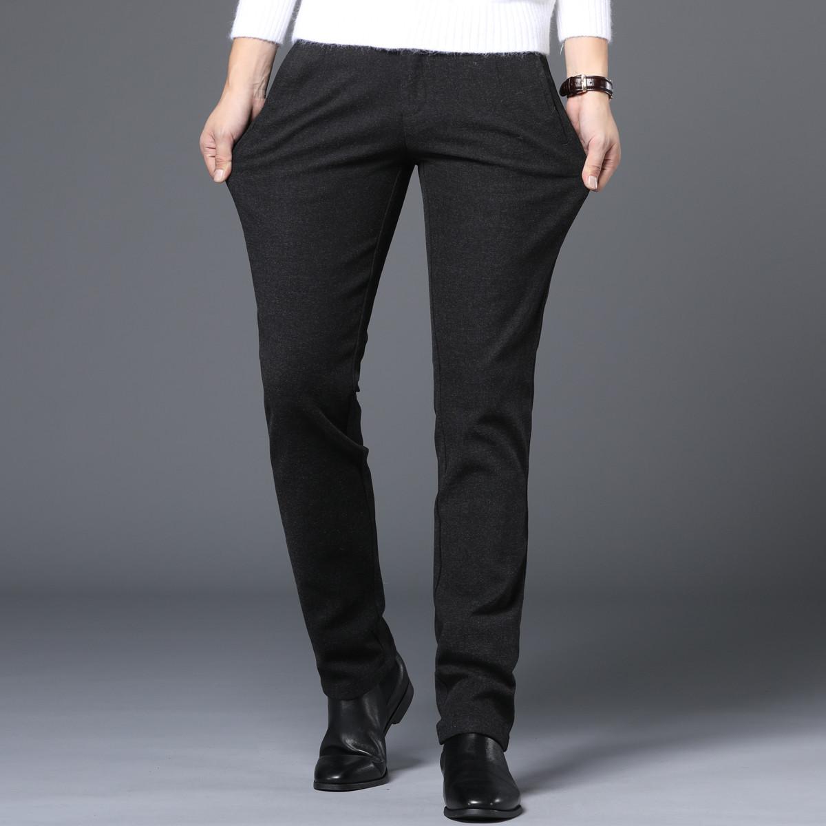 enk2019新款时尚加厚款保暖磨毛韩版微弹修身小直筒男士休闲裤EC4155078001