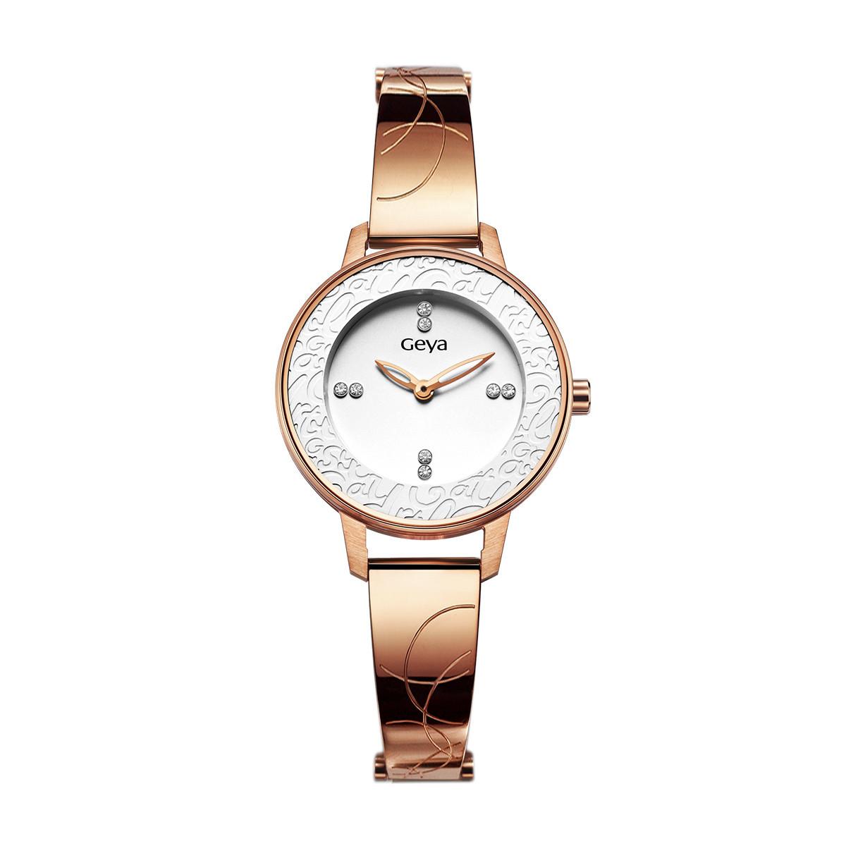 格雅格雅正品时尚镶钻名牌手表女 两针复古钢带女表 新品潮流石英表WG76031LHW