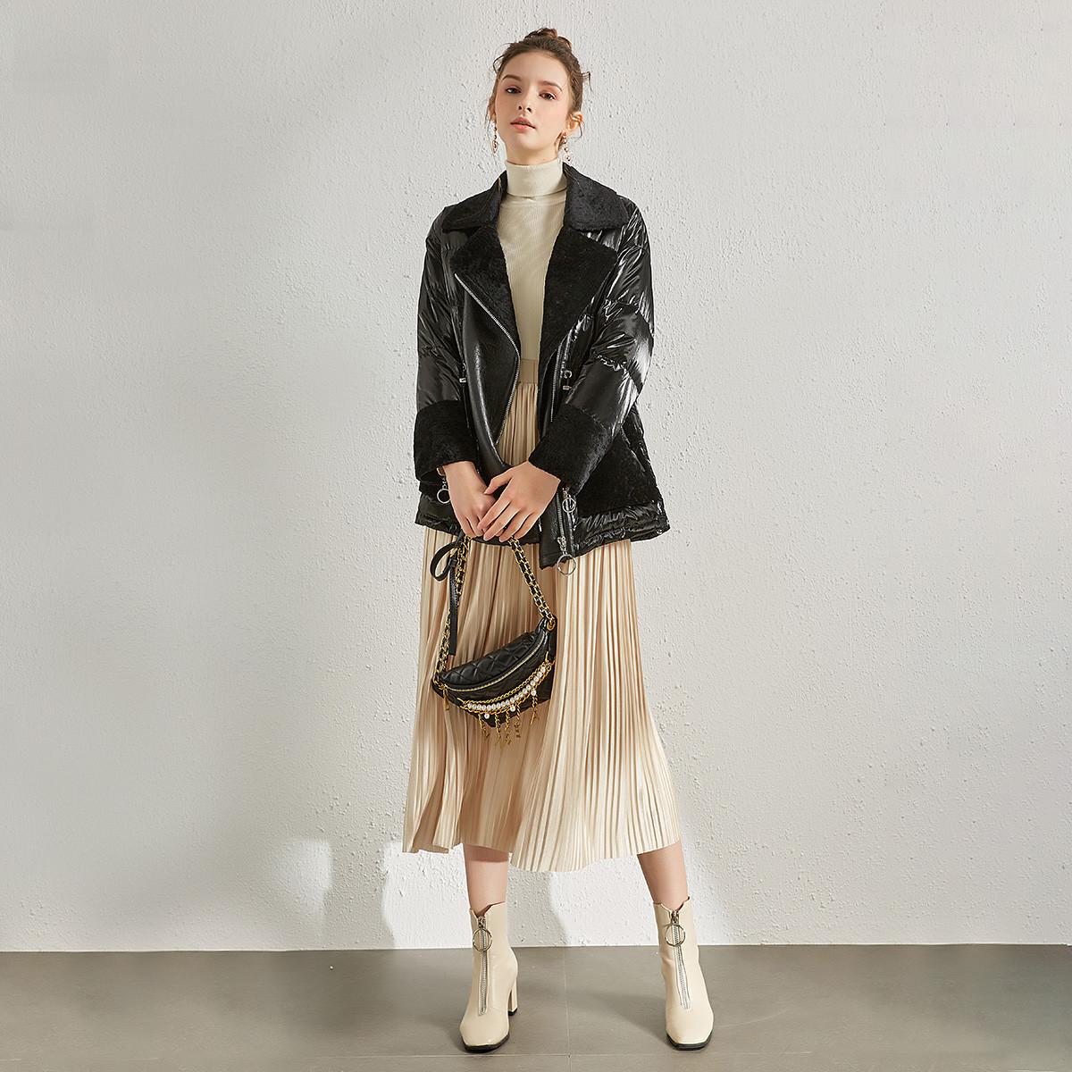 KAISASEGA羊毛皮毛一体外套女拼接皮草羽绒服中长款2019新款宽松真皮皮衣KS-X558903