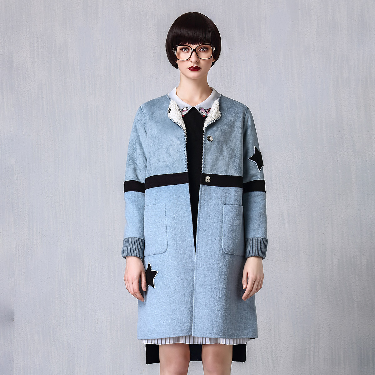裘堤婼JETEZO秋冬装新款时尚拼接保暖舒适两面穿女式毛呢外套62733D151