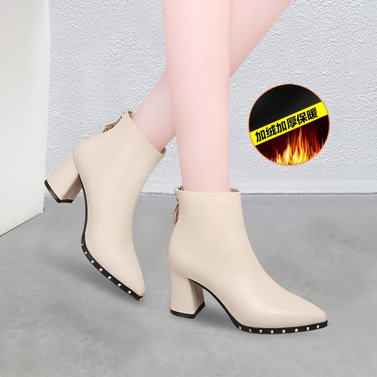 百年纪念19新款秋冬季加绒保暖皮面粗跟后拉链短筒靴子女鞋女靴切尔西靴B1200702