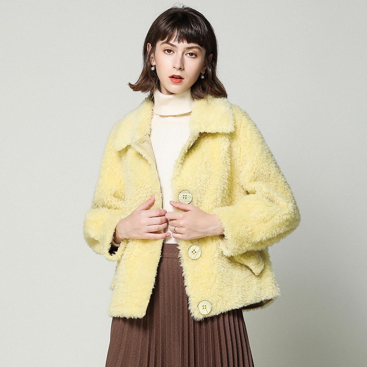 Blue Port100%羊毛复合一体羊剪绒皮草外套秋冬新款单排扣短款羊毛大衣女QL131708