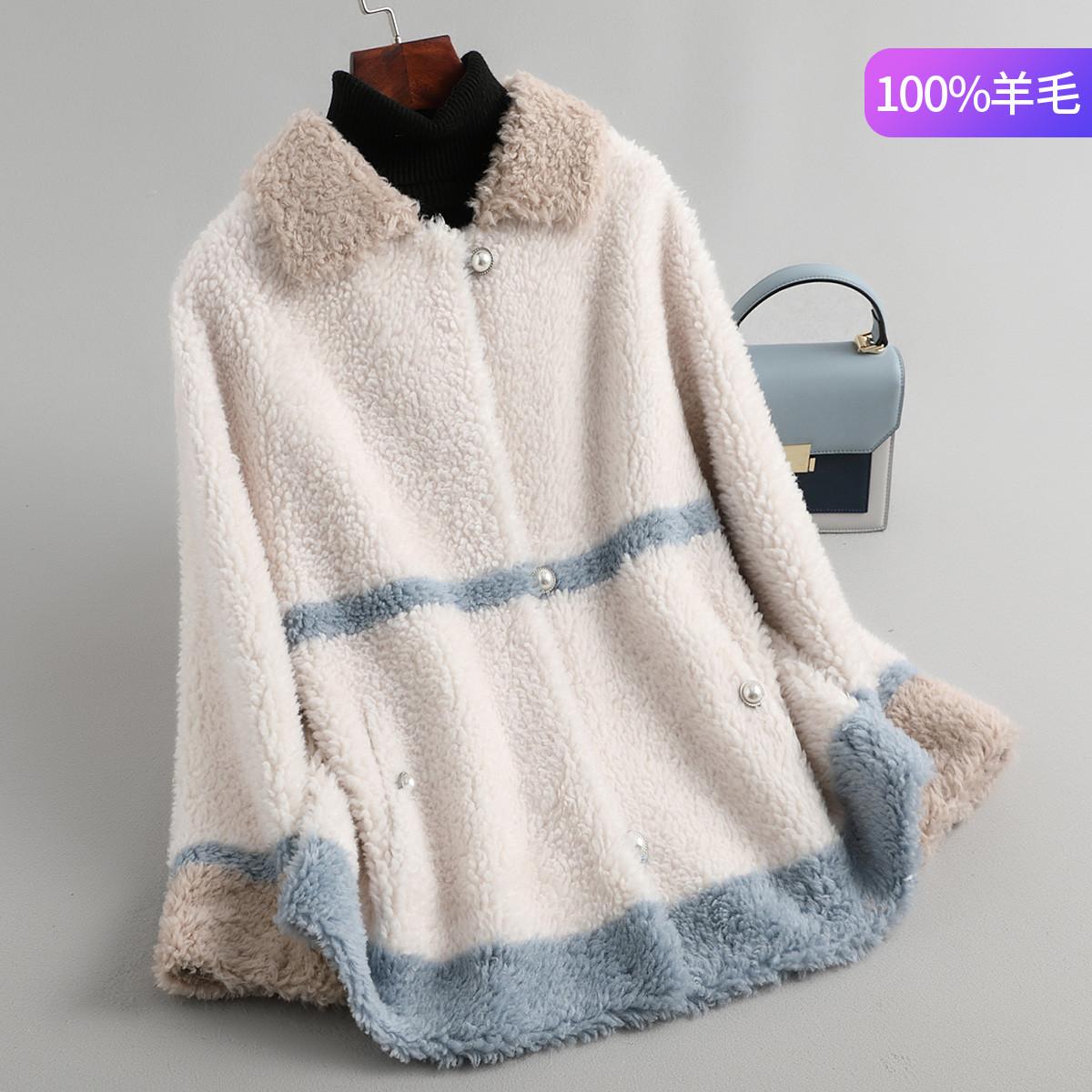 寂然秋冬女士短款羊剪绒大衣女方领时尚复合皮毛一体皮草外套J96879012