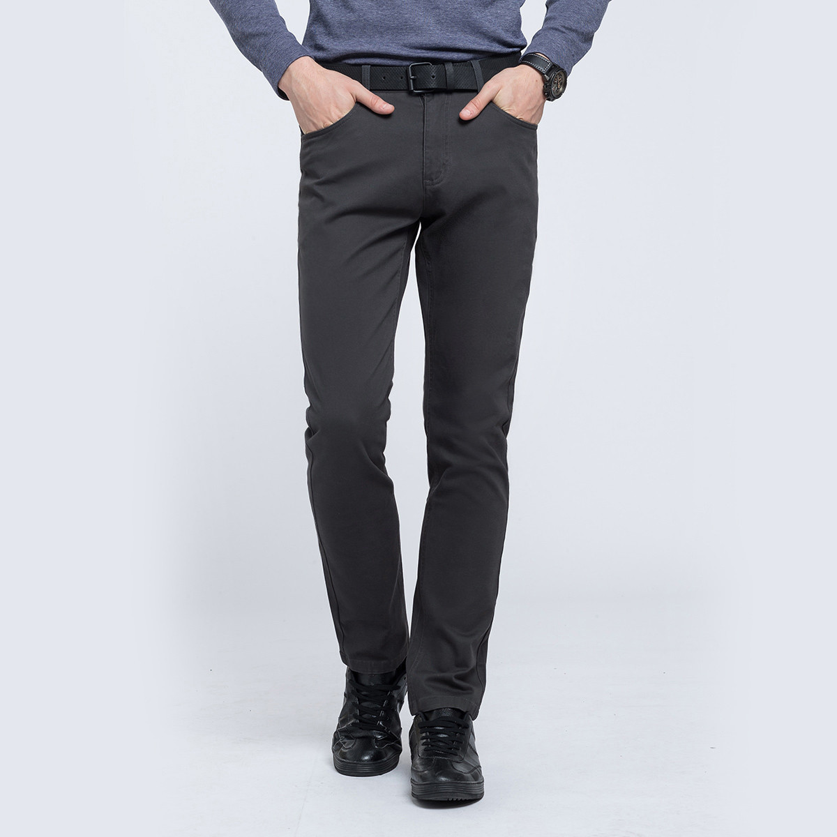 骆驼时尚微弹纯色直筒中腰长裤男士休闲裤W8P4674412SH