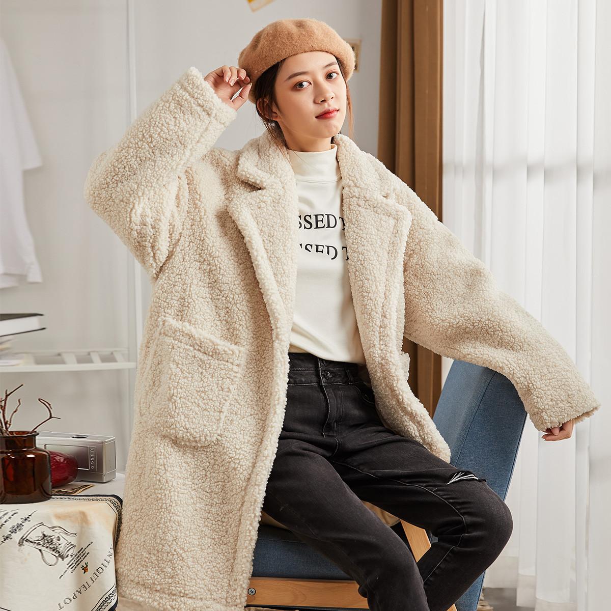 唐狮女中长款西装领仿颗粒羊绒呢外套62442FC0134403112