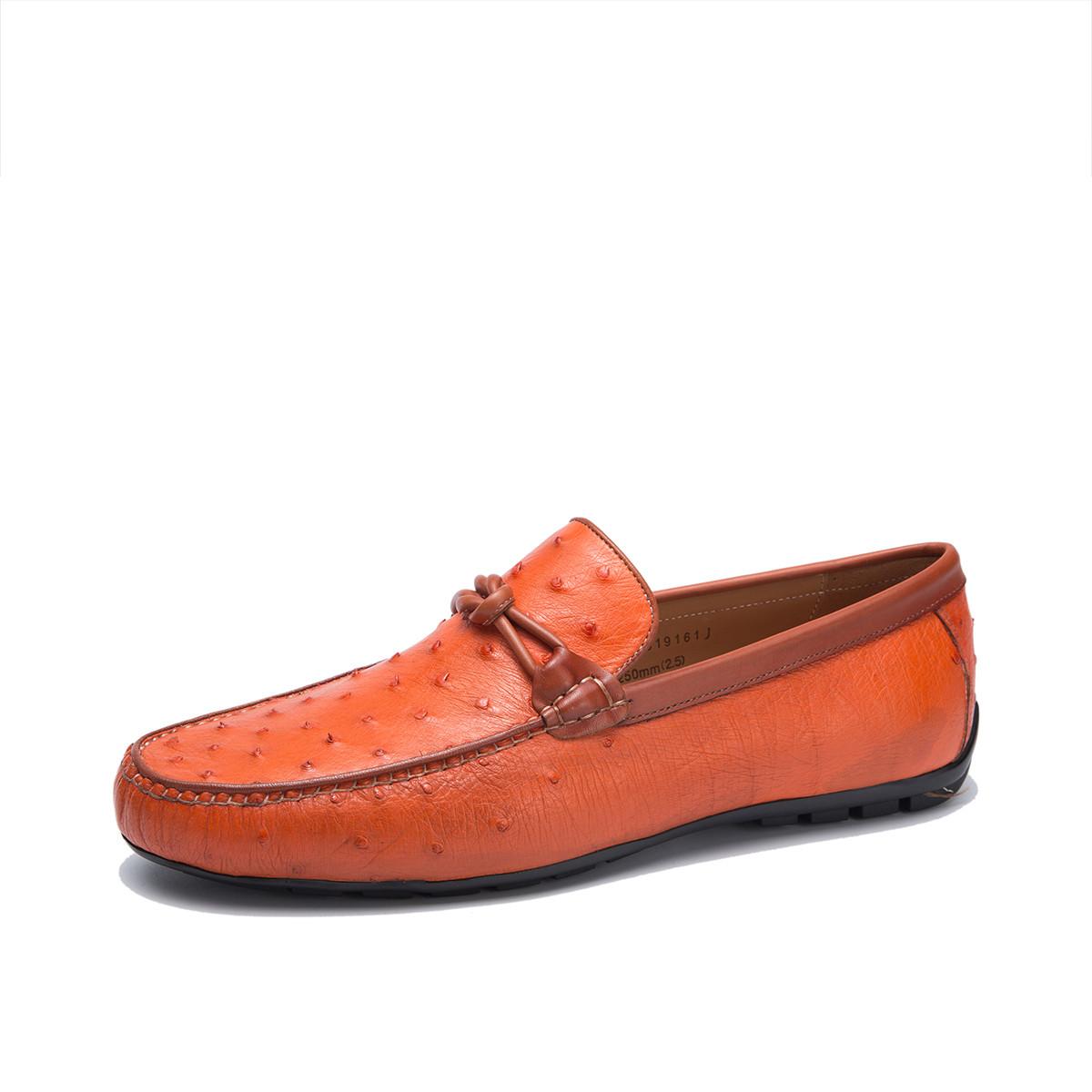 迪宝·阿治奥2019新款 擦色真鸵鸟皮男士豆豆鞋男士商务皮鞋男士皮鞋DJ1A2019161J