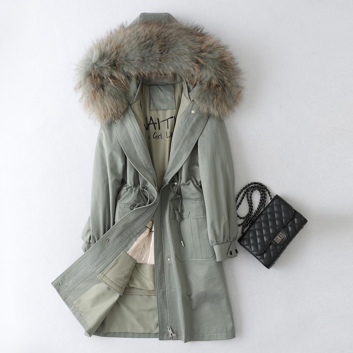 飞拉丹顿冬季长款个性可拆卸獭兔毛内胆配貉子毛领女式派克服外套MN11F019W05