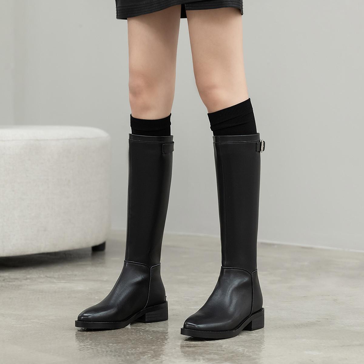 艾米娜【专柜同款】艾米娜头层牛皮长靴女靴马丁靴女士长筒高筒靴女鞋冬A9673902