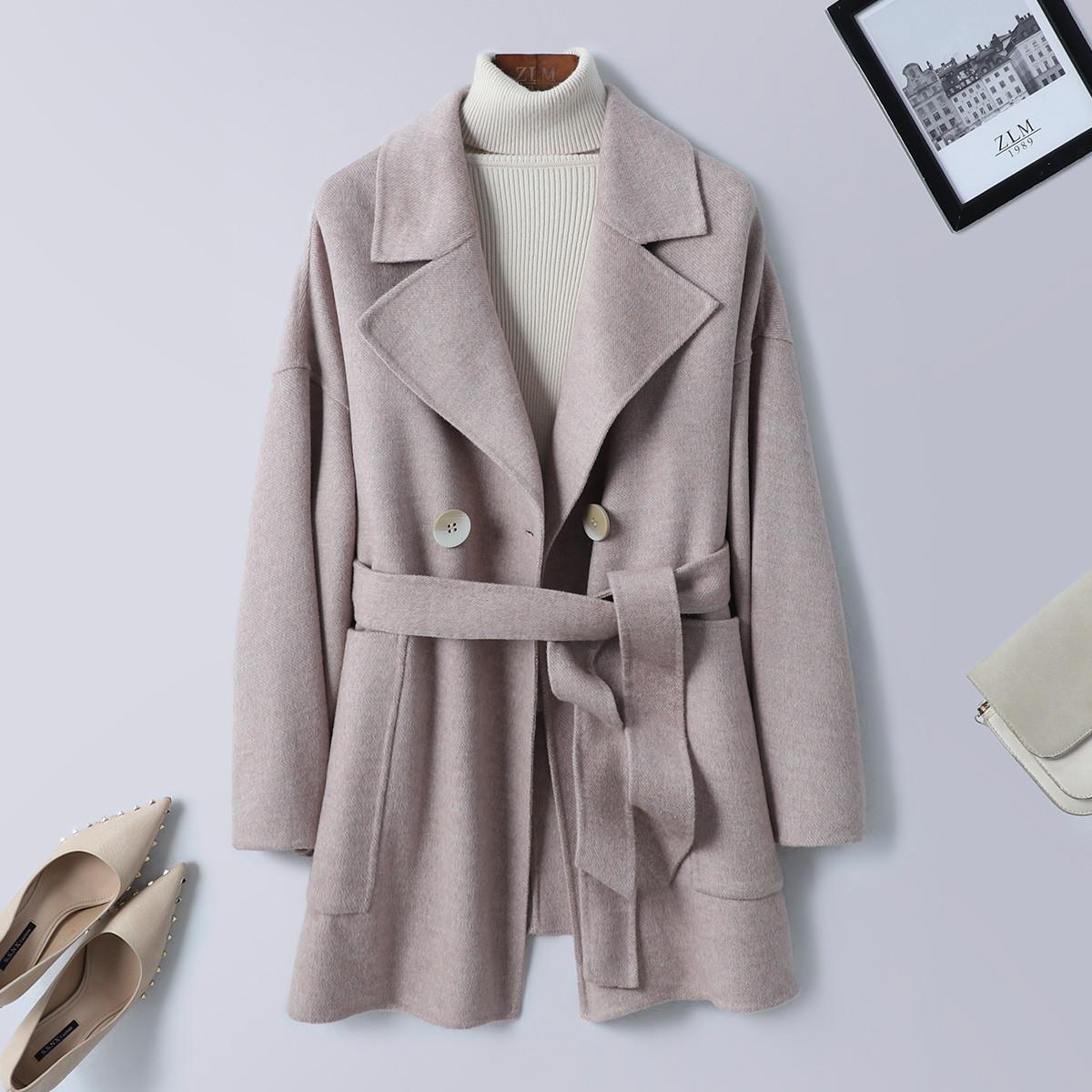 紫澜门冬羊毛翻领系带宽松落肩袖H型女装双面呢外套3201313K41402
