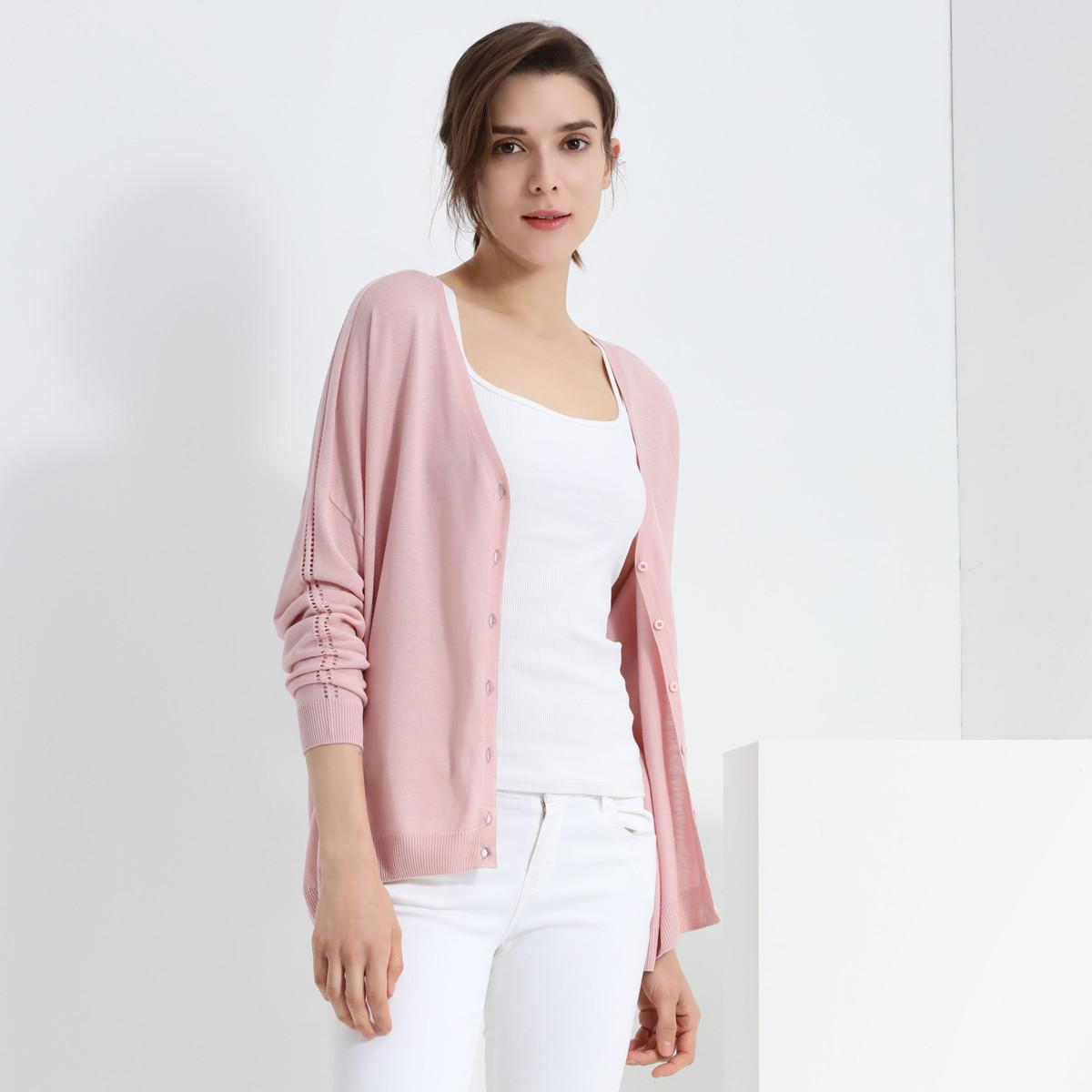 兆君春装女V领落肩九分袖薄款休闲真丝开衫女式外套ZSM4646A5101