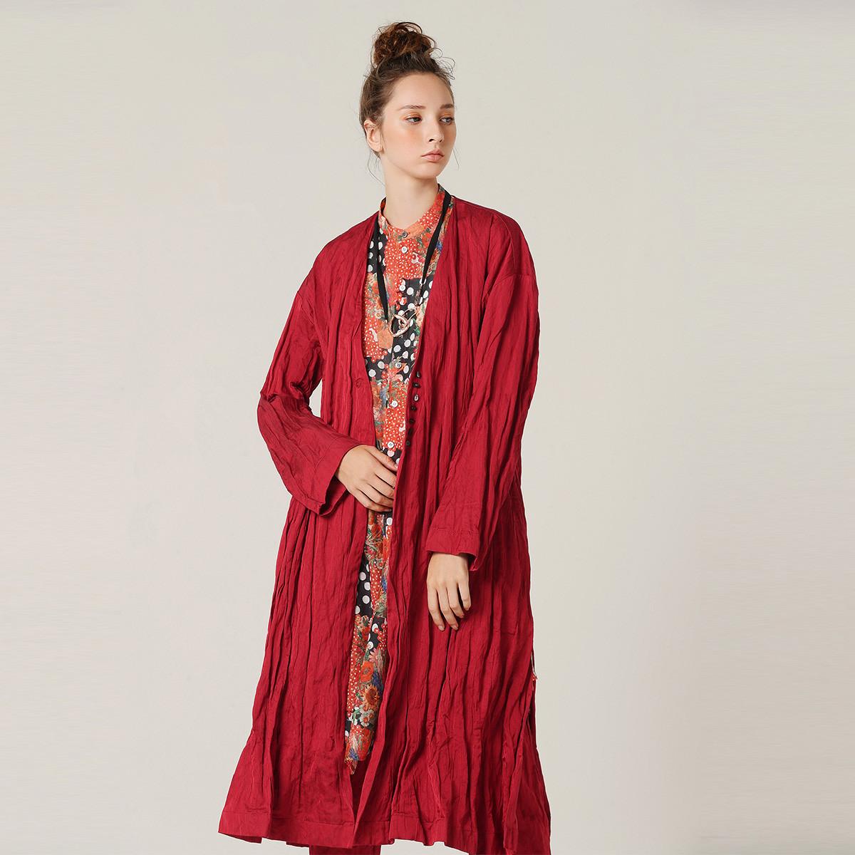 EINPURE TEA茶愫褶皱长款外套女装2019新款秋季时尚文艺设计感风衣TH1003031315