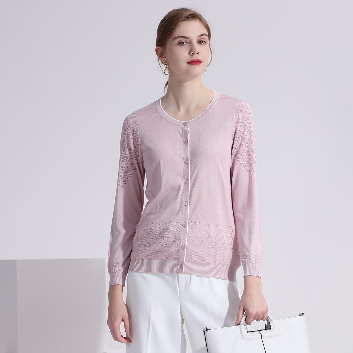 兆君【镂空花型】100%桑蚕丝圆领薄款长袖短上衣真丝开衫女式外套ZSN4602H5172