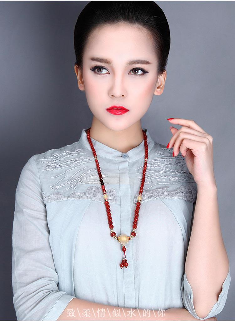 凤凰涅磐 红琼 原创设计时尚民族风红玛瑙琉璃手链项链两用