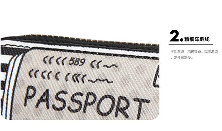 条纹手绘明信片印花钱包