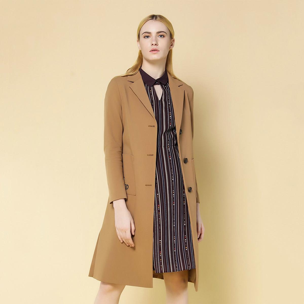 娜尔思娜尔思冬季新款女装长袖中长款时尚优雅外套风衣防寒服S1AGG17150K