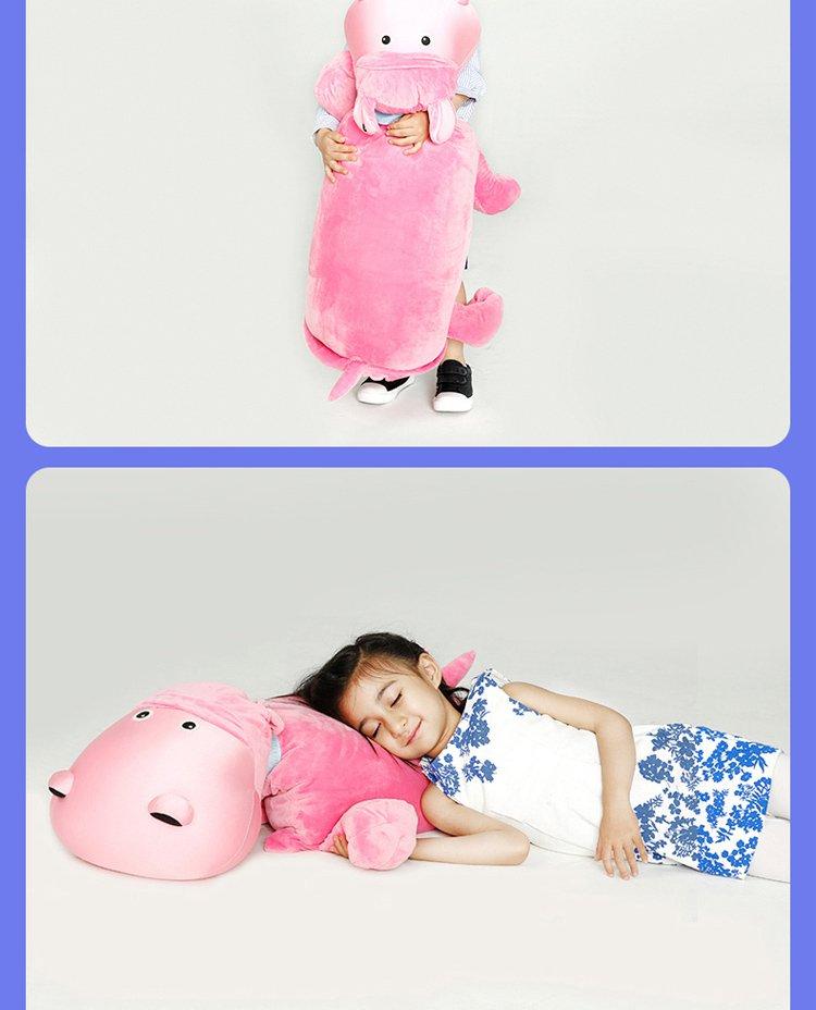 可爱大河马毛绒公仔玩具抱枕盖毯三合一儿童生日礼物