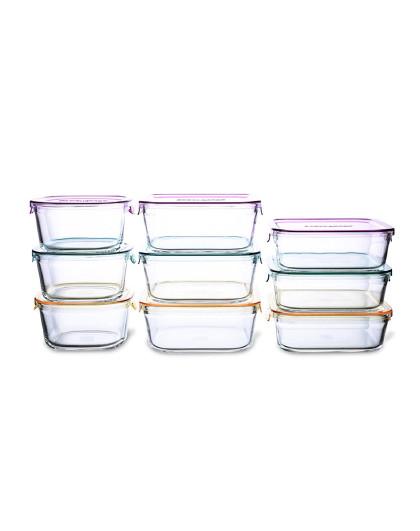 iwaki怡万家耐热玻璃保鲜盒微波炉便当盒马卡龙系列9件套