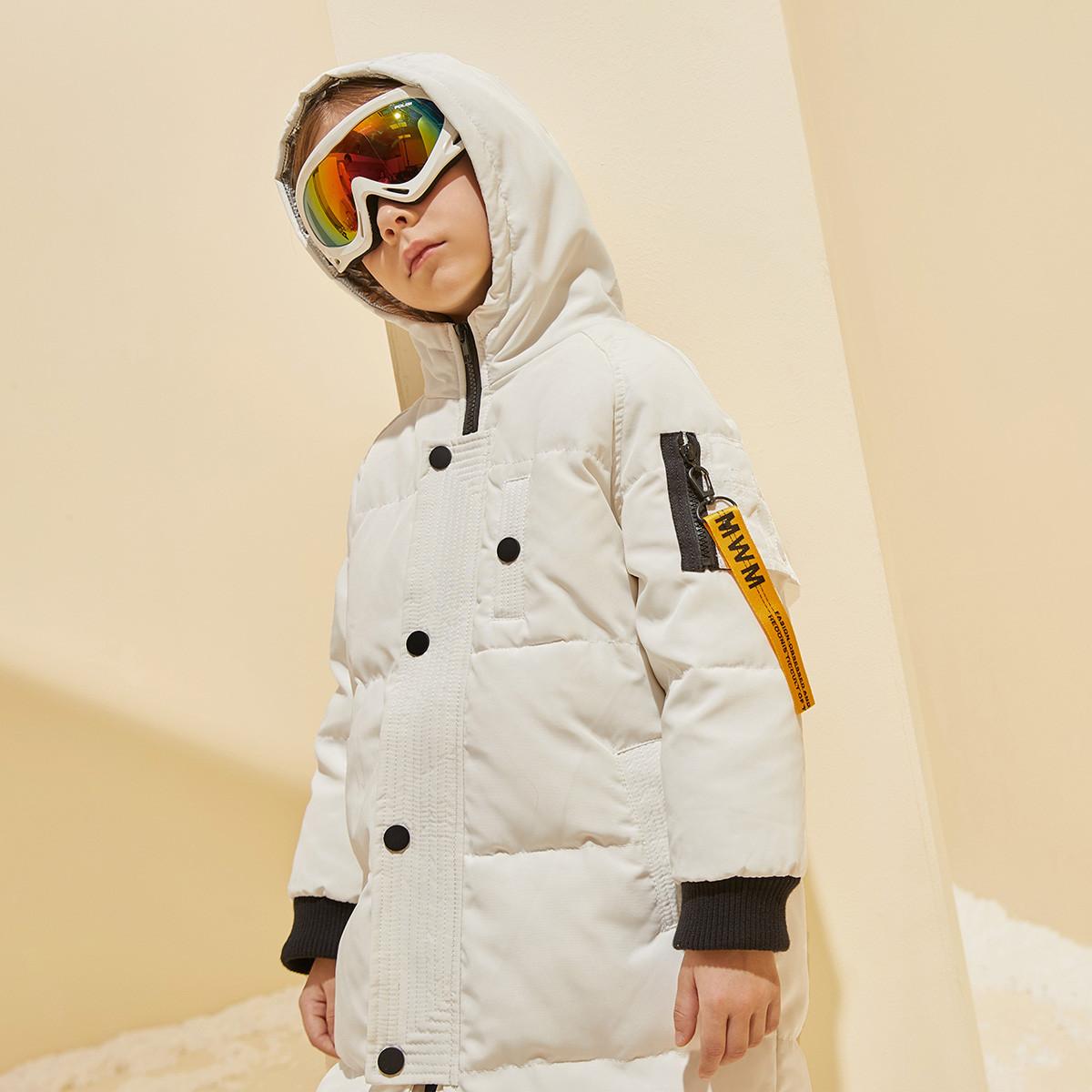 巴帝巴帝【白鸭绒】巴拉巴拉旗下19冬休闲连帽儿童中长款男童羽绒服13419VD1608BD108