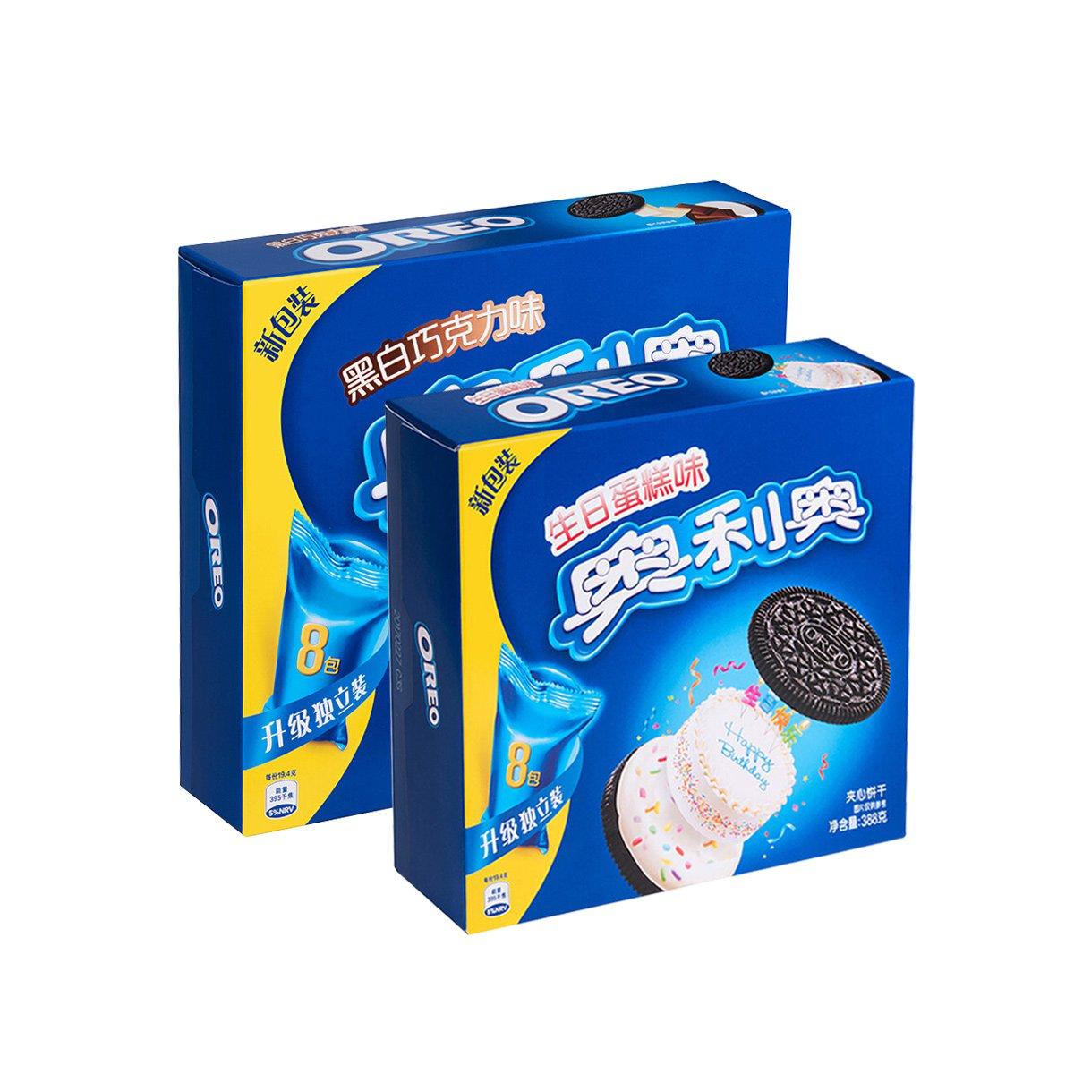 【分享奥利奥 秀出新趣味】奥利奥黑白巧克力味+生日蛋糕味共776g
