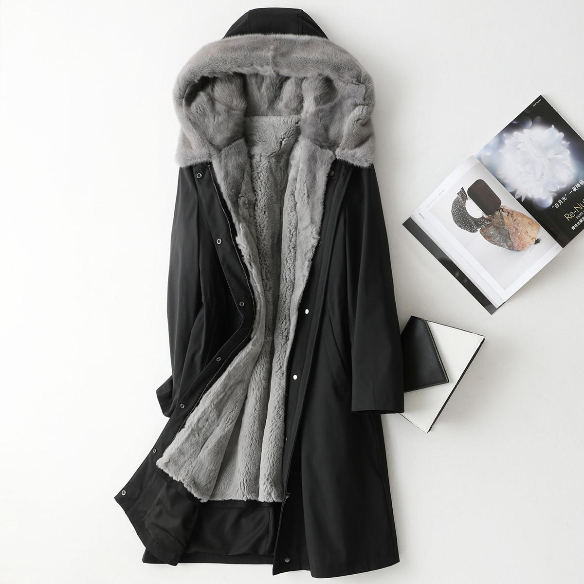 Aulenti时尚纯色长款派克服女士2019冬季新款獭兔毛内胆水貂毛领连帽大衣ALT49007HH