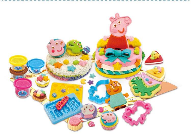 小猪佩奇橡皮泥粘土彩泥套装过家家男女孩 蛋糕烘焙乐