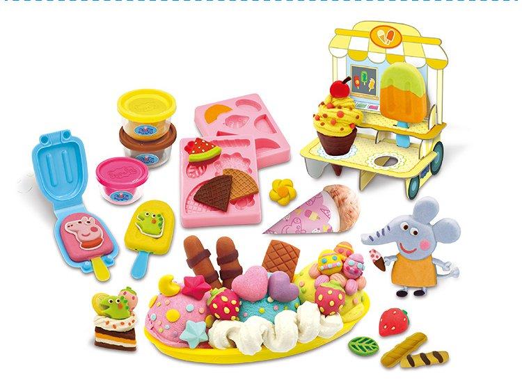 小猪佩奇橡皮泥粘土彩泥套装过家家男女孩 冰淇淋乐园