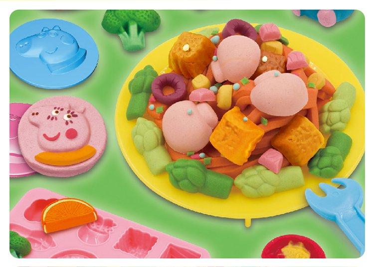 小猪佩奇儿童彩泥橡皮泥套装含工具 男孩女孩喜爱玩具 小猪佩奇意粉屋