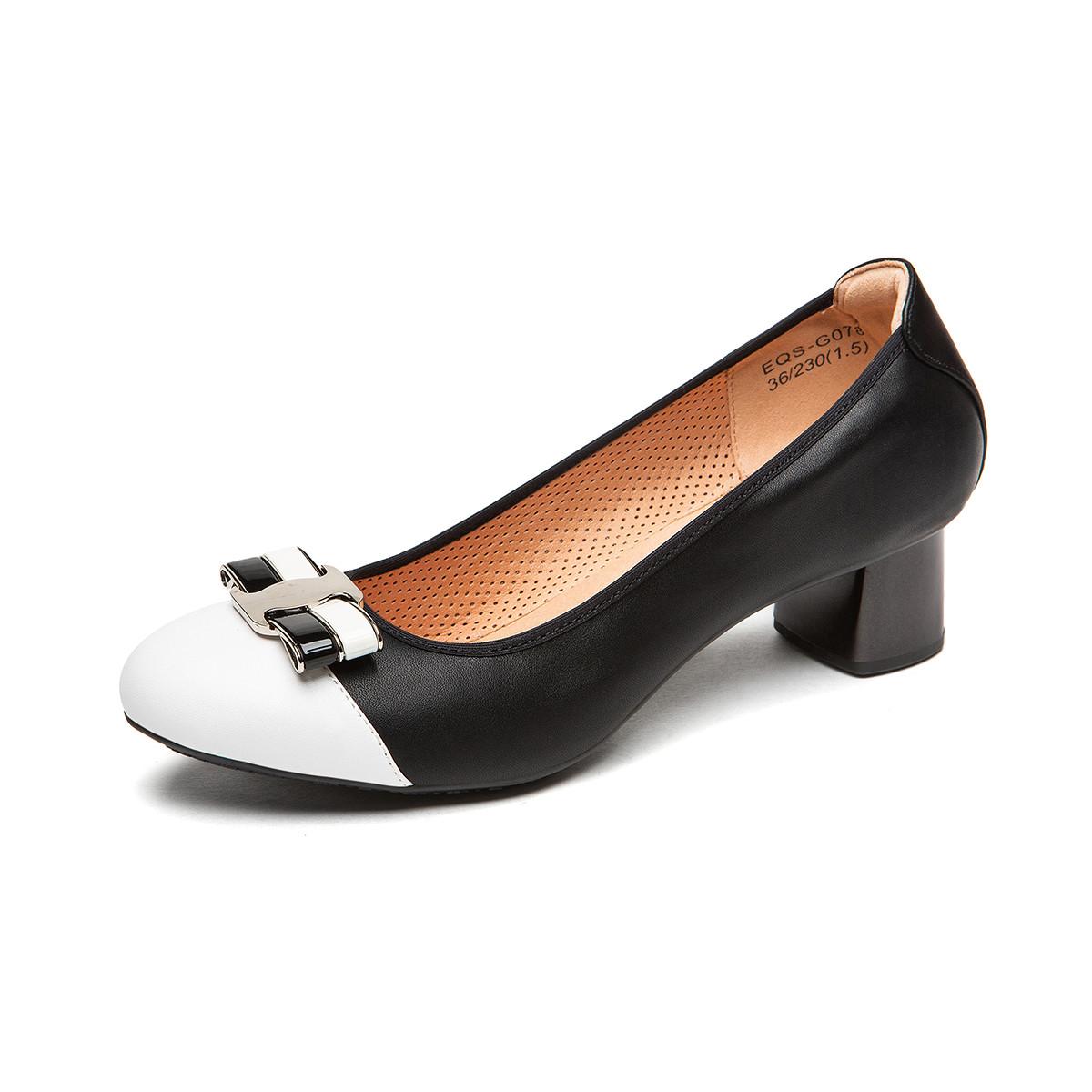 蛋卷鞋蛋卷鞋2019春季新款低跟圆头舒适职业工作单鞋蝴蝶结女鞋EQS-G078-100