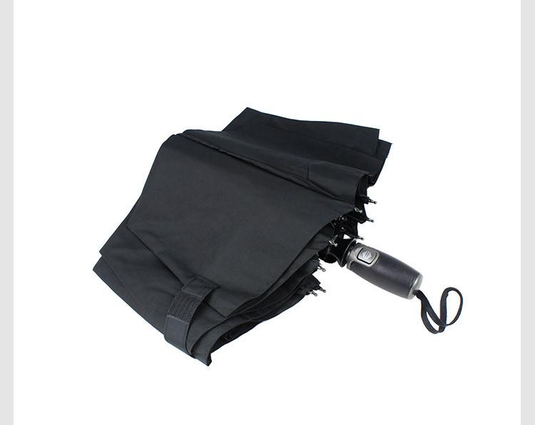 euro schirm德国伞纯黑商务麋皮手柄自动伞大号