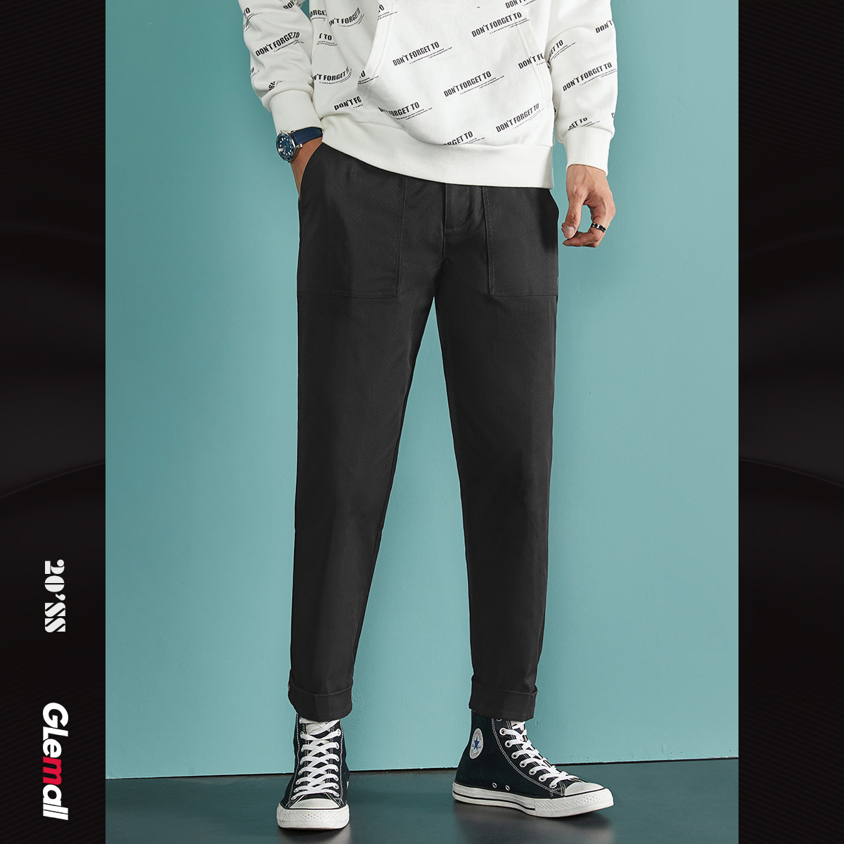 GleMall潮牌【舒适抗皱】简约廓形街头休闲束脚男士休闲长裤ZA1A261202201(D037)