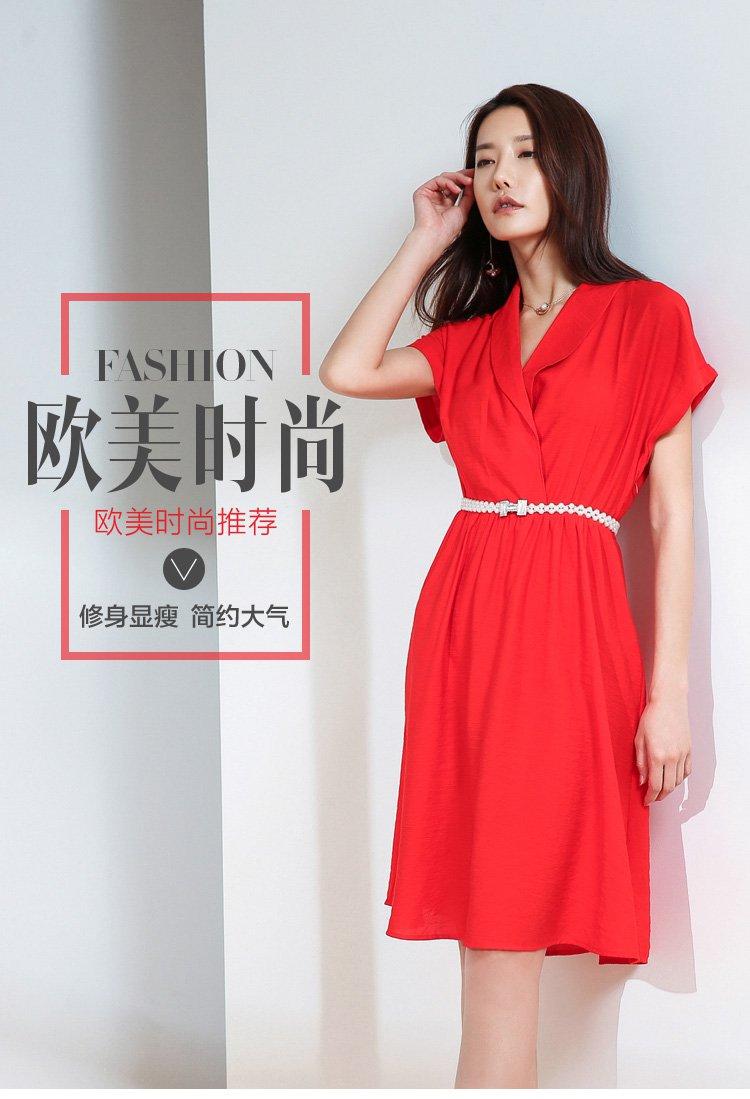 卓雅玛设计师定制欧美风时尚连衣裙大红色fxga26822